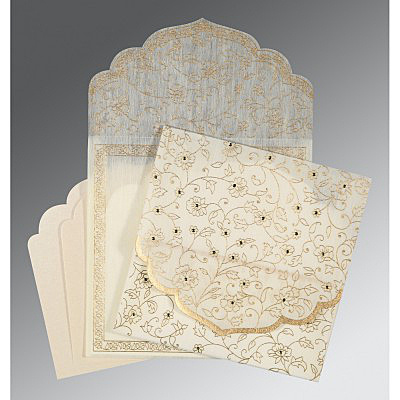 CREAM WOOLY FLORAL THEMED - SCREEN PRINTED WEDDING INVITATION : IN-8211G