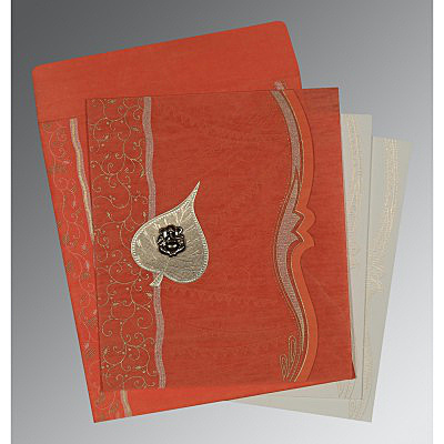 CORAL SHIMMERY EMBOSSED WEDDING CARD : IN-8210F