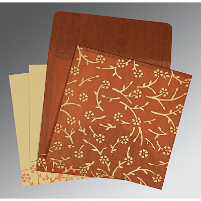 BURNT ORANGE WOOLY FLORAL THEMED - SCREEN PRINTED WEDDING INVITATION : IN-8216E