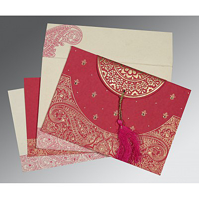 HOT PINK HANDMADE COTTON EMBOSSED WEDDING CARD : IN-8234I