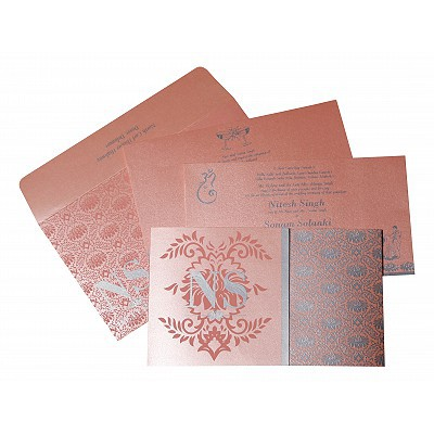 BABY PINK SHIMMERY DAMASK THEMED - SCREEN PRINTED WEDDING INVITATION : IN-8261D