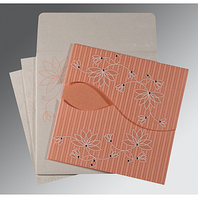 CORAL SHIMMERY FLORAL THEMED - SCREEN PRINTED WEDDING INVITATION : IN-8251I