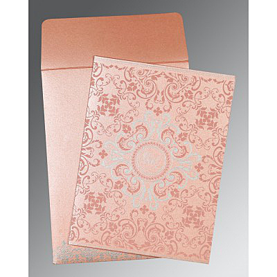 PINK SHIMMERY SCREEN PRINTED WEDDING CARD : IN-8244A
