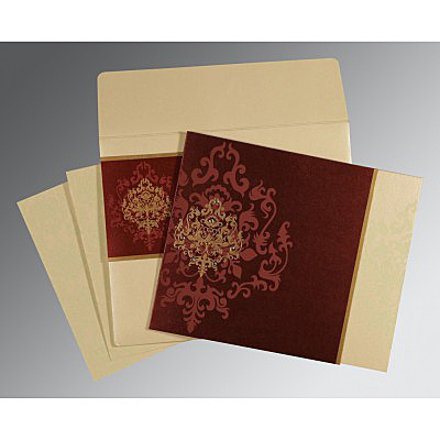 DERBY BROWN SHIMMERY DAMASK THEMED - SCREEN PRINTED WEDDING CARD : IN-8253F