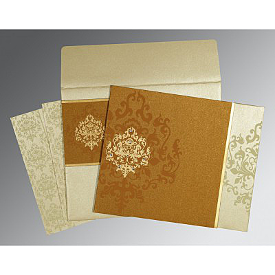 MUSTARD YELLOW SHIMMERY DAMASK THEMED - SCREEN PRINTED WEDDING CARD : IN-8253G
