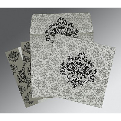 SILVER SHIMMERY DAMASK THEMED - SCREEN PRINTED WEDDING CARD : IN-8254H