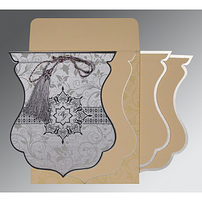 SILVER SHIMMERY FLORAL THEMED - SCREEN PRINTED WEDDING CARD : IN-8229B