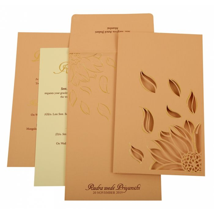 BABY PINK MATTE LASER CUT WEDDING INVITATION : CIN-1926 - IndianWeddingCards