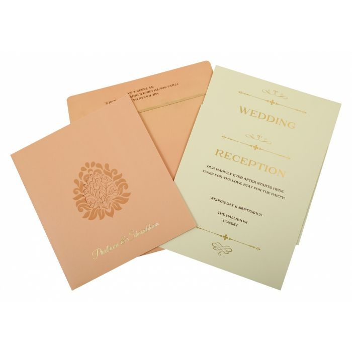 Baby Pink Matte Paisley Themed - Laser Cut Wedding Invitation : CW-1843 - IndianWeddingCards