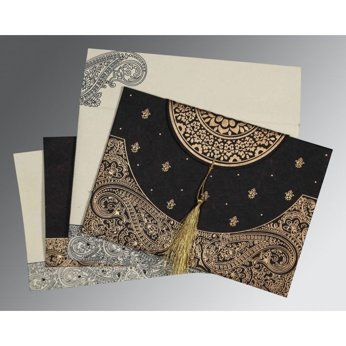 BLACK HANDMADE COTTON EMBOSSED WEDDING CARD : CD-8234A - IndianWeddingCards