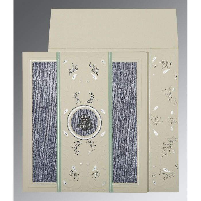 FOSSIL GREY MATTE EMBOSSED WEDDING CARD : CC-1261 - IndianWeddingCards