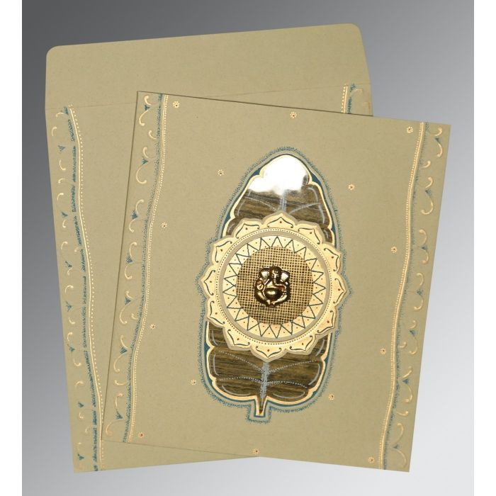 KHAKI MATTE EMBOSSED WEDDING CARD : CW-1194 - IndianWeddingCards