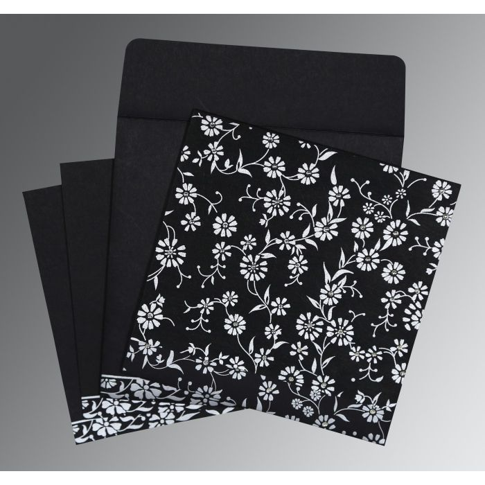 BLACK MATTE FLORAL THEMED - SCREEN PRINTED WEDDING CARD : CD-8222J - IndianWeddingCards