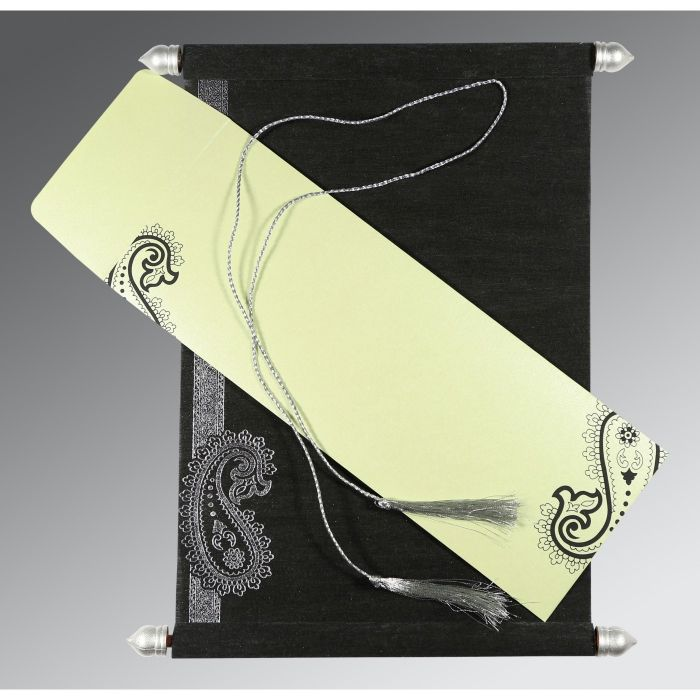 BLACK WOOLY FOIL STAMPED WEDDING CARD : CSC-5015C - IndianWeddingCards