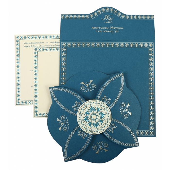 BLUE BUTTERFLY THEMED - SCREEN PRINTED WEDDING INVITATION : CS-820D - IndianWeddingCards