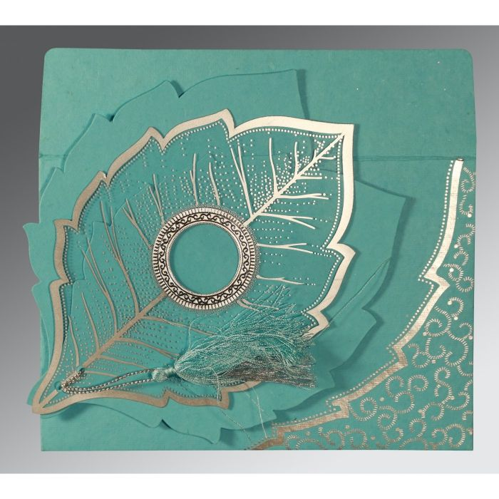TURQUOISE HANDMADE COTTON FLORAL THEMED - FOIL STAMPED WEDDING CARD : CC-8219P - IndianWeddingCards