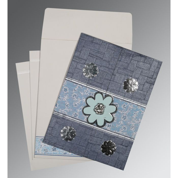 GRAYISH BLUE MATTE FLORAL THEMED - EMBOSSED WEDDING CARD : CW-1285 - IndianWeddingCards
