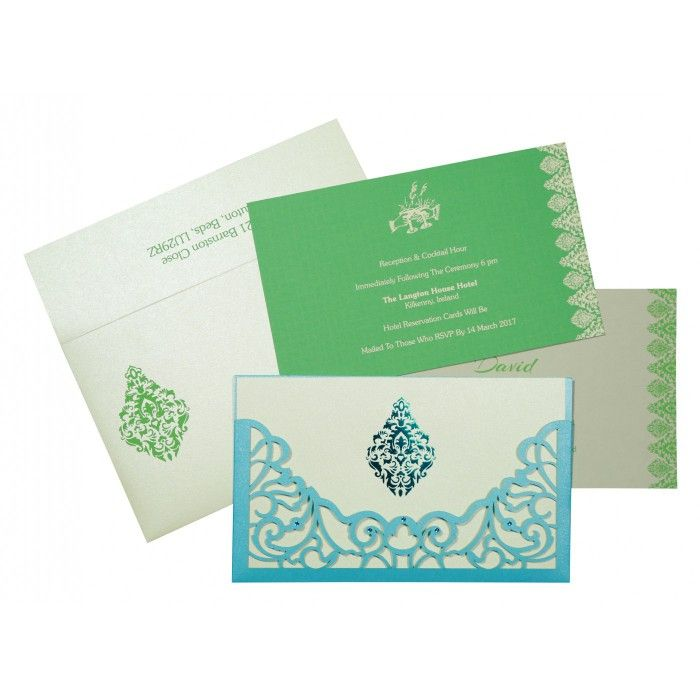 CYAN BLUE SHIMMERY DAMASK THEMED - LASER CUT WEDDING CARD : CI-8262A - IndianWeddingCards