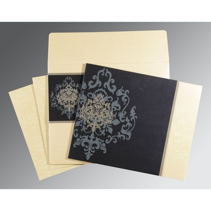 IVORY BLUE SHIMMERY DAMASK THEMED - SCREEN PRINTED WEDDING CARD : CSO-8253D - IndianWeddingCards