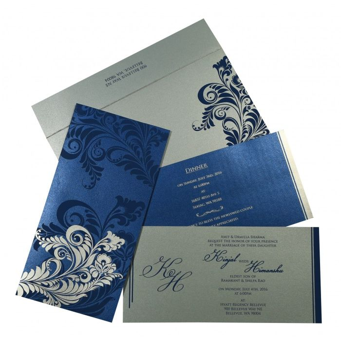 Blue Shimmery Floral Themed - Screen Printed Wedding Card : CIN-8259E - IndianWeddingCards