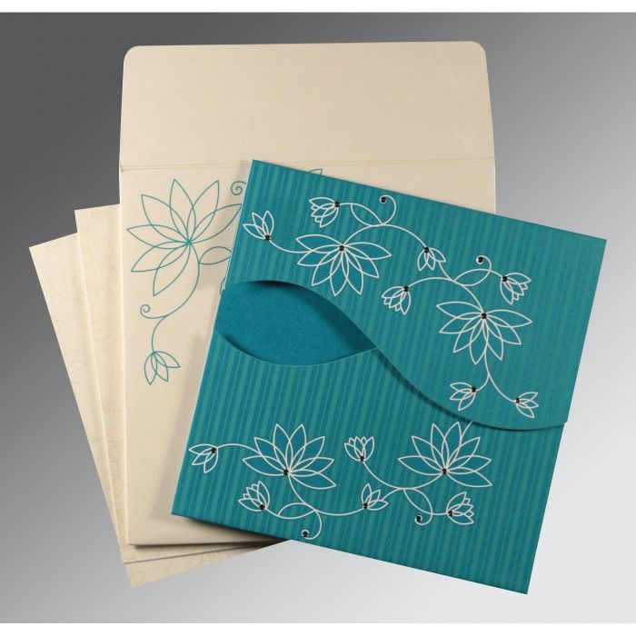 TURQUOISE SHIMMERY FLORAL THEMED - SCREEN PRINTED WEDDING INVITATION : CW-8251G - IndianWeddingCards