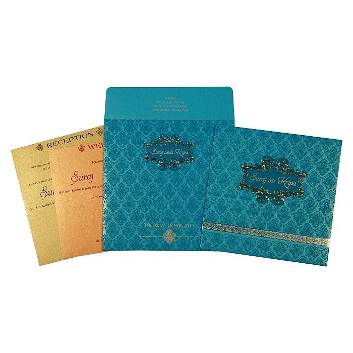 TURQUOISE SHIMMERY FOIL STAMPED WEDDING INVITATION : CC-1729 - IndianWeddingCards
