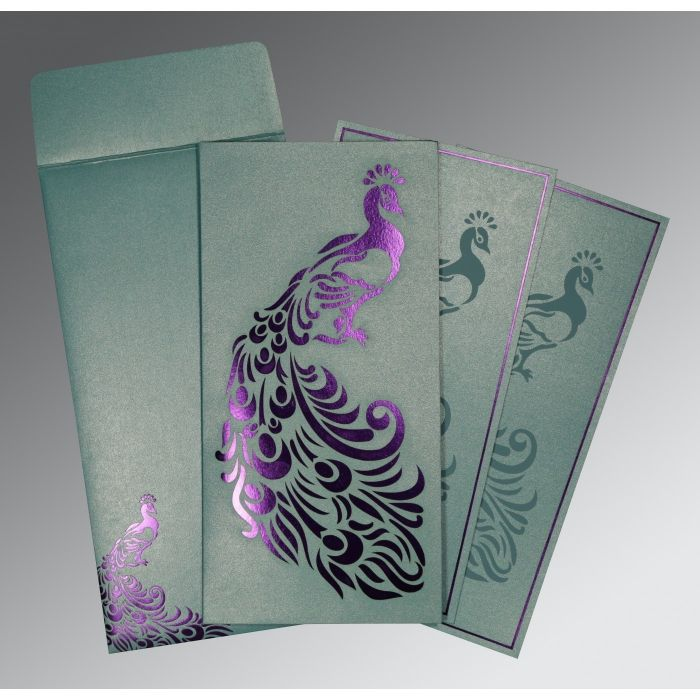 MOON STONE SHIMMERY PEACOCK THEMED - LASER CUT WEDDING INVITATION : CW-8255E - IndianWeddingCards