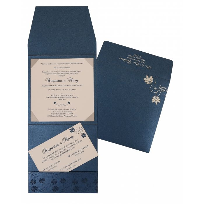 Blue Shimmery Screen Printed Wedding Invitation : CD-803D - IndianWeddingCards