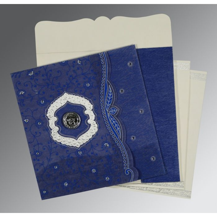 COBALT BLUE SHIMMERY FLORAL THEMED - EMBOSSED WEDDING CARD : CS-8209J - IndianWeddingCards