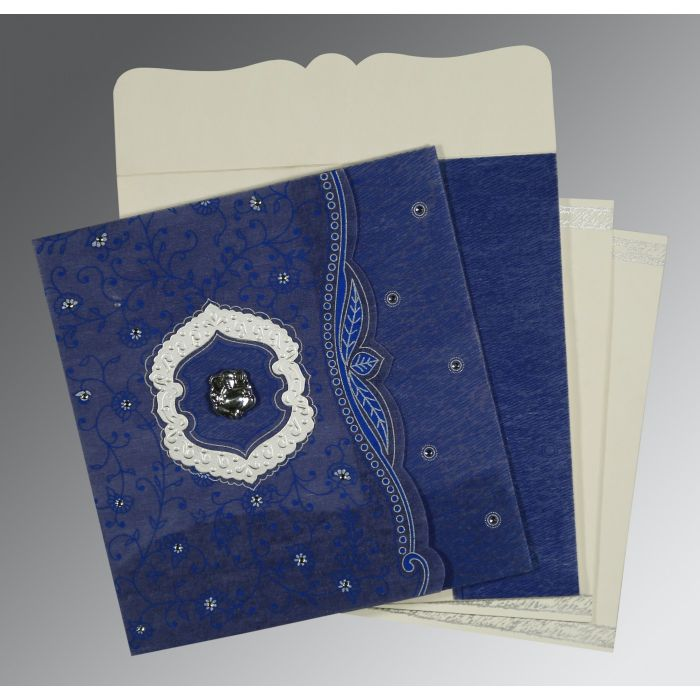 COBALT BLUE SHIMMERY FLORAL THEMED - EMBOSSED WEDDING CARD : CW-8209J - IndianWeddingCards
