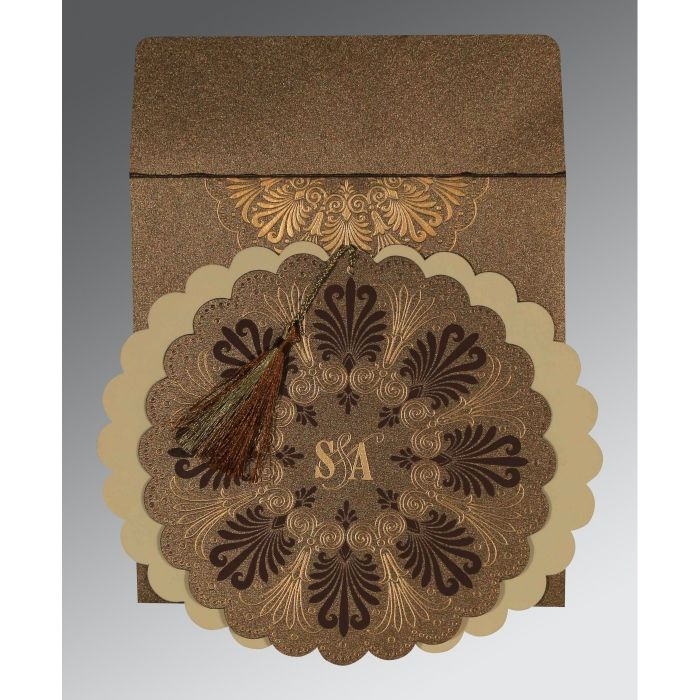 Brown Shimmery Floral Themed - Embossed Wedding Card : CIN-8238G - IndianWeddingCards