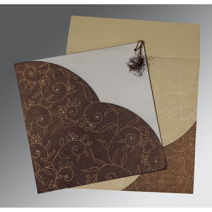 BEIGE BROWN SHIMMERY SCREEN PRINTED WEDDING INVITATION : CIN-1447 - IndianWeddingCards