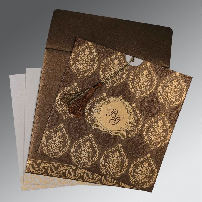 Brown Shimmery Unique Themed - Foil Stamped Wedding Card : CI-8249J - IndianWeddingCards