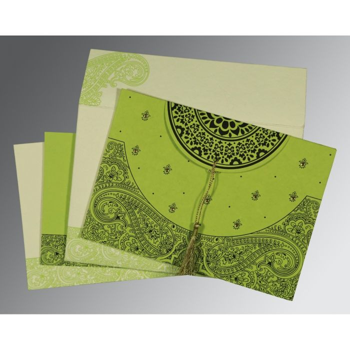 PARROT GREEN HANDMADE COTTON EMBOSSED WEDDING CARD : CG-8234H - IndianWeddingCards