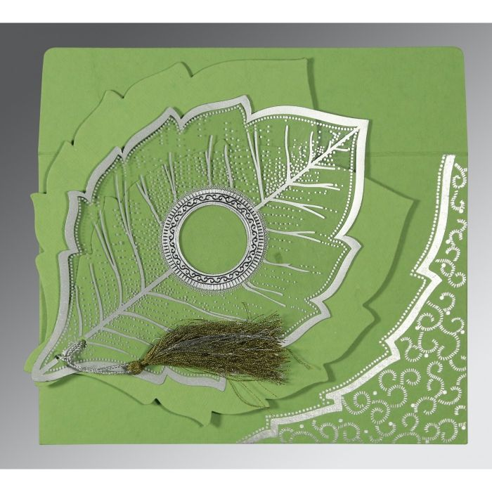 Green Handmade Cotton Floral Themed - Foil Stamped Wedding Card : CD-8219J - IndianWeddingCards