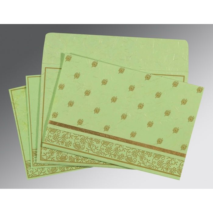 PARROT GREEN HANDMADE SILK SCREEN PRINTED WEDDING CARD : CD-8215D - IndianWeddingCards