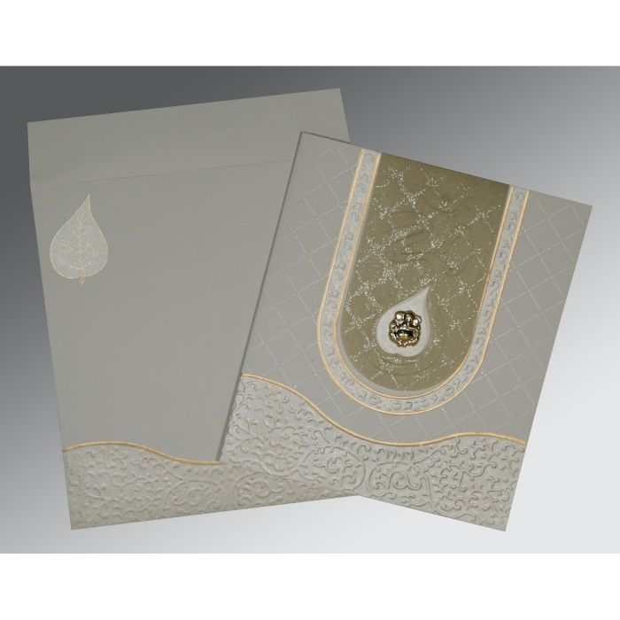 SHELL GREY MATTE EMBOSSED WEDDING INVITATION : CIN-2151 - IndianWeddingCards