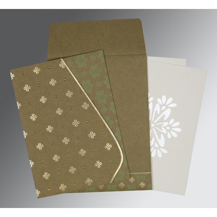 YELLOW METAL MATTE FLORAL THEMED - FOIL STAMPED WEDDING INVITATION : CI-8237E - IndianWeddingCards
