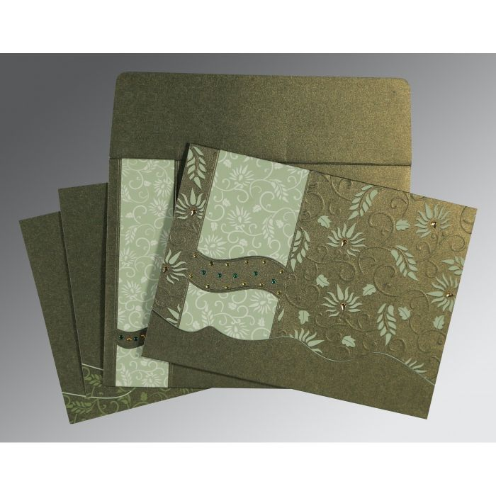 DEEP SAGE SHIMMERY FLORAL THEMED - EMBOSSED WEDDING INVITATION : CD-8236H - IndianWeddingCards