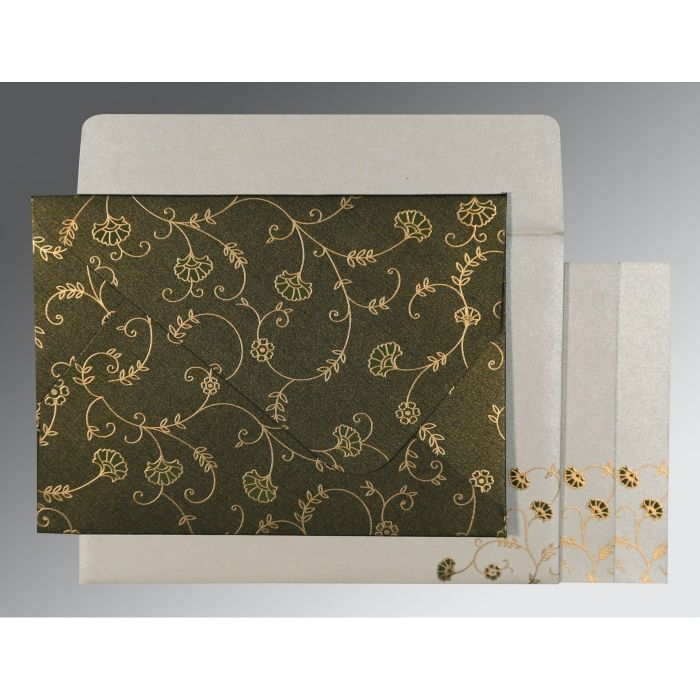 DARK OLIVE GREEN SHIMMERY FLORAL THEMED - SCREEN PRINTED WEDDING INVITATION : CD-8248D - IndianWeddingCards