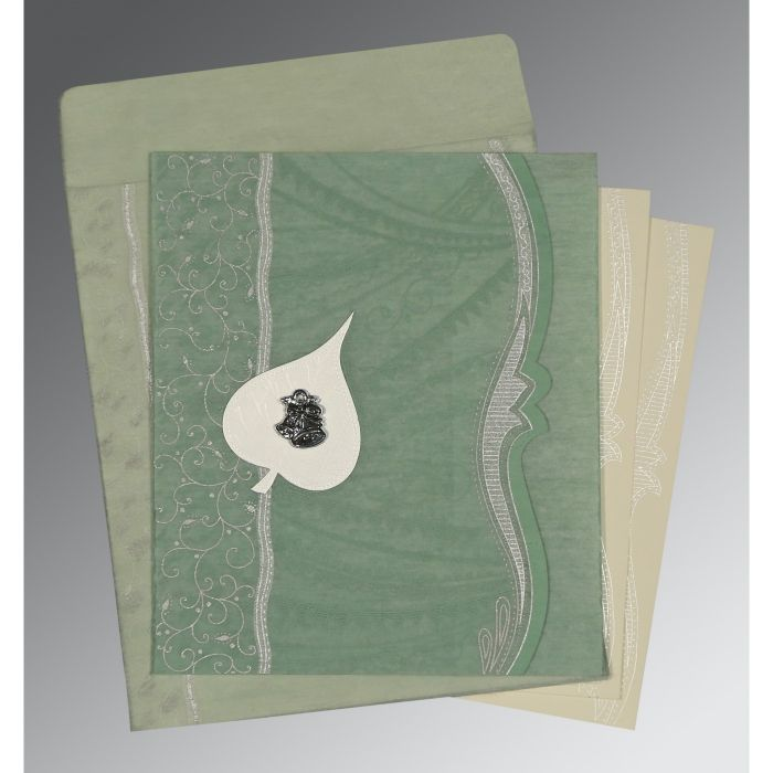 Green Wooly Embossed Wedding Card : CC-8210E - IndianWeddingCards