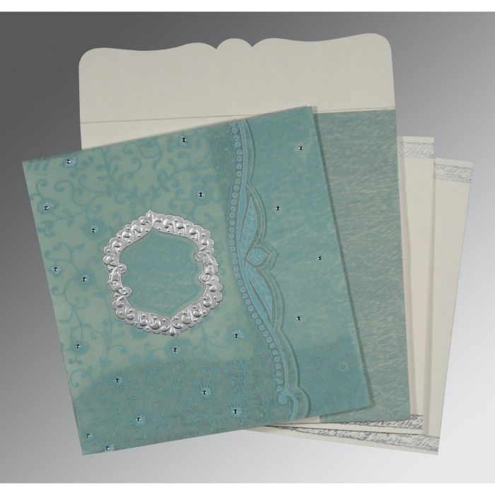 SEA GREEN SHIMMERY FLORAL THEMED - EMBOSSED WEDDING CARD : CD-8209F - IndianWeddingCards