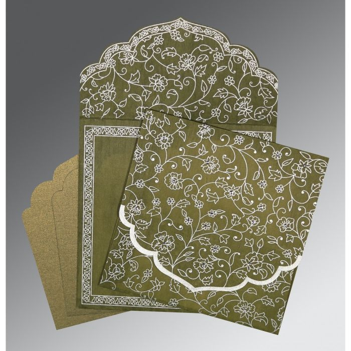 OLIVE GREEN WOOLY FLORAL THEMED - SCREEN PRINTED WEDDING INVITATION : CD-8211M - IndianWeddingCards