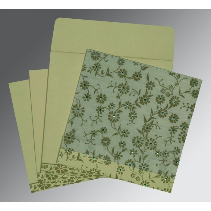 Green Wooly Floral Themed - Screen Printed Wedding Card : CD-8222G - IndianWeddingCards
