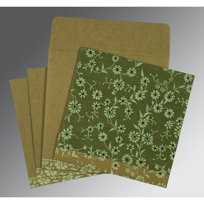 FERN GREEN MATTE FLORAL THEMED - SCREEN PRINTED WEDDING CARD : CG-8222D - IndianWeddingCards