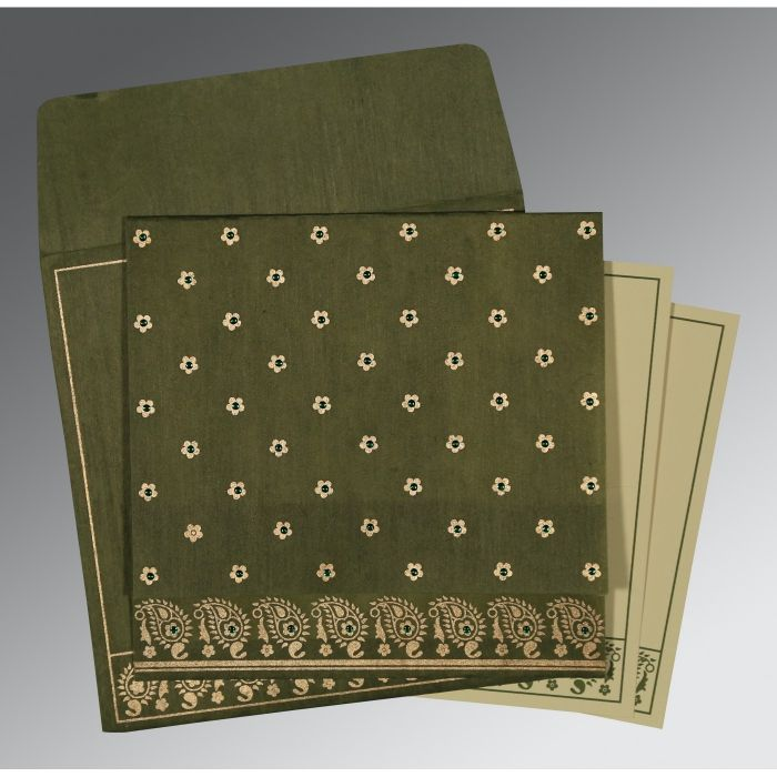 GREEN WOOLY FLORAL THEMED - SCREEN PRINTED WEDDING CARD : CW-8218A - IndianWeddingCards