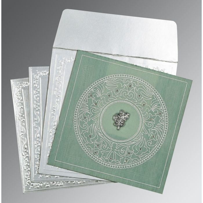 SAGE GREEN WOOLY SCREEN PRINTED WEDDING CARD : CC-8214P - IndianWeddingCards