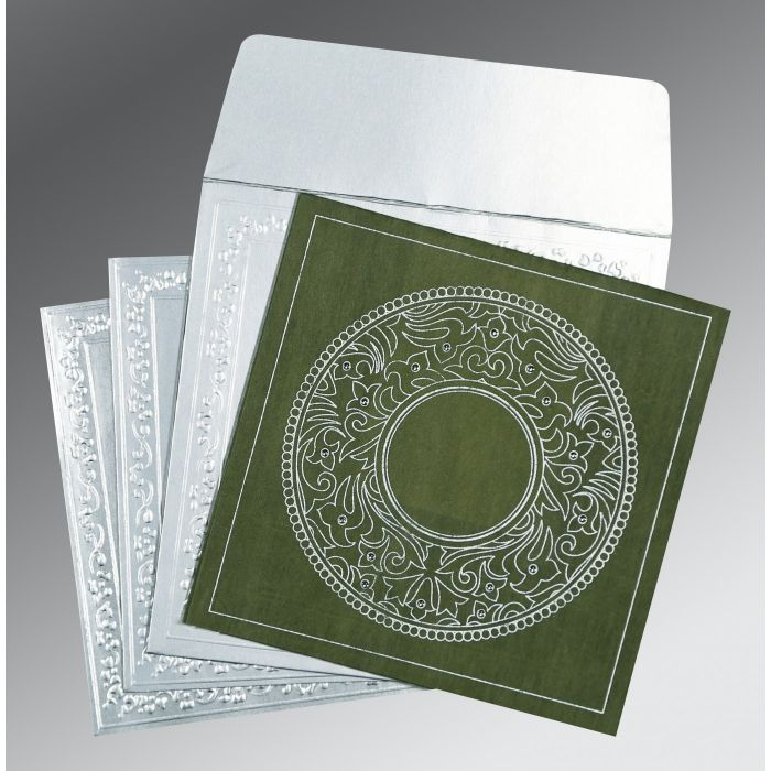Green Wooly Screen Printed Wedding Card : CD-8214L - IndianWeddingCards