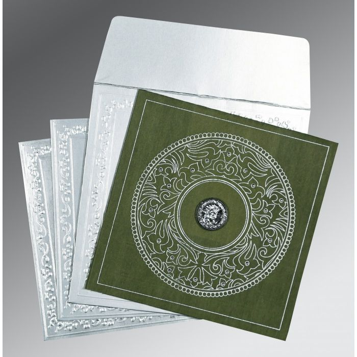 Green Wooly Screen Printed Wedding Card : CS-8214L - IndianWeddingCards