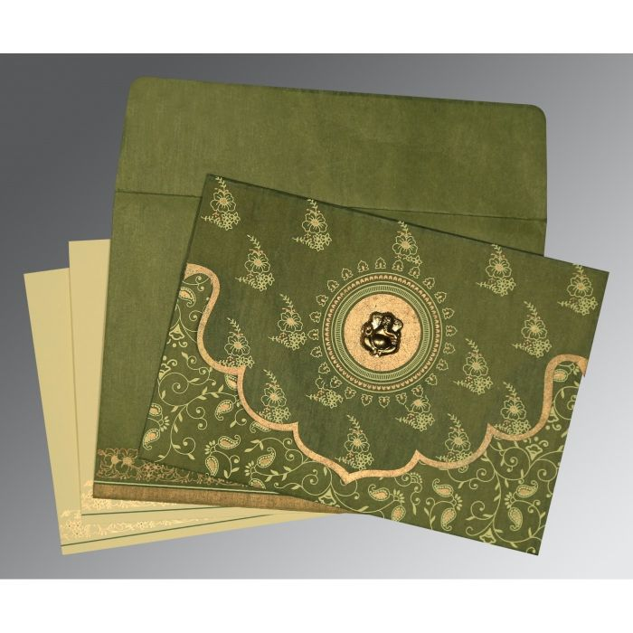 Green Wooly Screen Printed Wedding Invitation : CW-8207H - IndianWeddingCards
